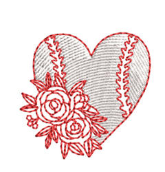 Redwork Baseball Heart embroidery design