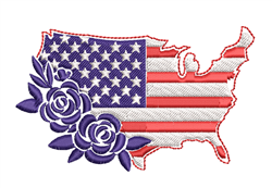 American Flag & Roses embroidery design