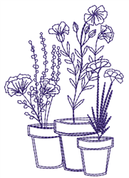 Potted Flowers Outline embroidery design