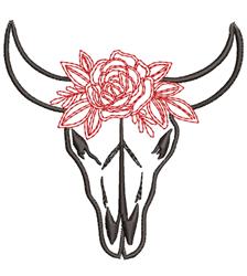 Bull Skull & Rose Outline embroidery design