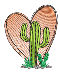 Heart & Cacti embroidery design