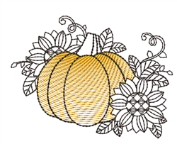 Rippled Pumpkin & Sunflowers embroidery design