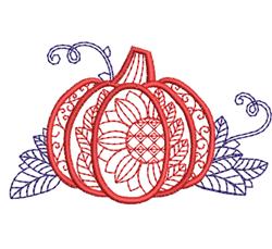 Decorative Pumpkin & Sunflower Outline embroidery design