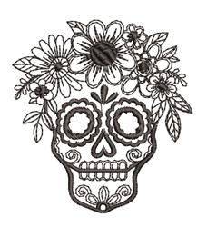 Skull & Flowers Outline embroidery design