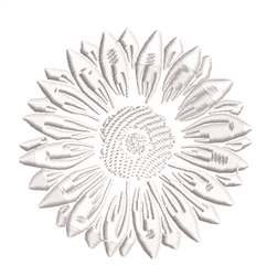 White Sunflower embroidery design