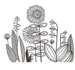 Blackwork Floral Border embroidery design