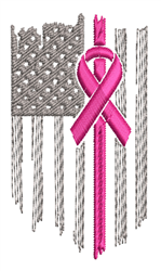 American Flag & Awareness Ribbon embroidery design