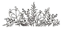 Blackwork Flowers embroidery design