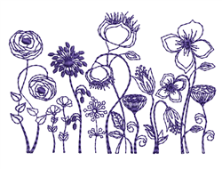 Bluework Floral Row embroidery design