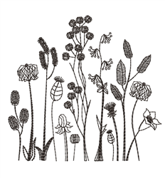 Blackwork Wildflowers embroidery design