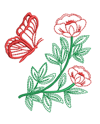 Butterfly & Petunia Outline embroidery design