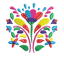 Rosemaling Colorful Flowers embroidery design