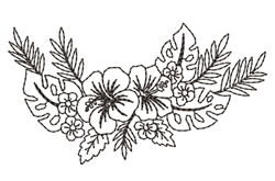 Hibiscus Swag Outline embroidery design
