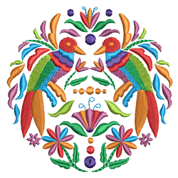 Colorful Rosemaling Birds & Flowers embroidery design