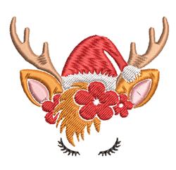 Christmas Reindeer & Flowers embroidery design