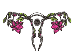 Anatomical Uterus & Flowers embroidery design