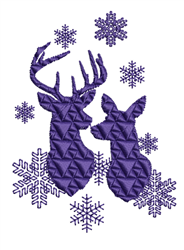 Snowflakes & Deer Silhouettes embroidery design