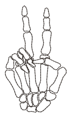 Peace Skeleton Hand Outline embroidery design