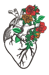 Anatomical Heart & Roses embroidery design