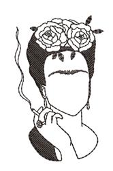 Frida Kahlo Outline embroidery design