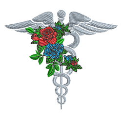 Caduceus & Roses embroidery design