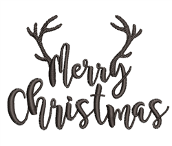 Merry Christmas Antlers embroidery design