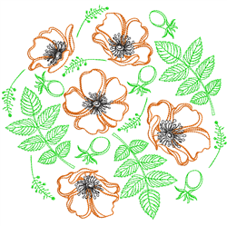 Poppies & Leaves Circle embroidery design