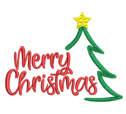 Merry Christmas Tree Outline embroidery design