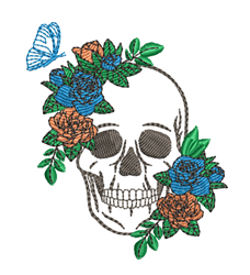 Skull & Roses embroidery design