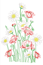 Poppies & Daisies Outline embroidery design
