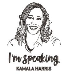 Im Speaking. Kamala Harris embroidery design