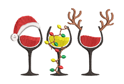 Merry Christmas Wine Glasses embroidery design