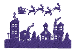 Santa Flying Scene Silhouette embroidery design