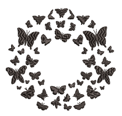 Butterfly Wreath Silhoeutte embroidery design