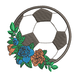 Soccer Ball & Roses embroidery design