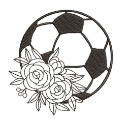Soccer Ball & Roses Outline embroidery design