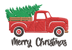 Vintage Truck & Christmas Tree embroidery design