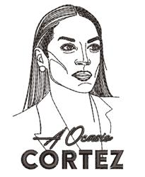 A Ocasio Cortez Outline embroidery design
