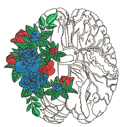 Brain Outline & Roses embroidery design