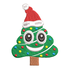 Poop Emoji Christmas Tree embroidery design