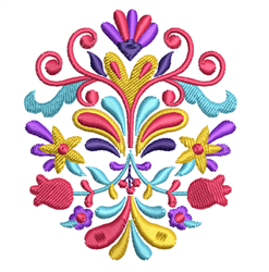 Rosemaling Floral Decoration embroidery design