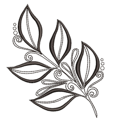 Fern Branch Outline embroidery design