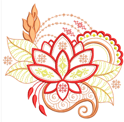 Cross Stitched Floral Outline embroidery design