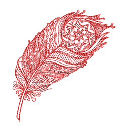 Redwork Mandala Peacock Feather embroidery design