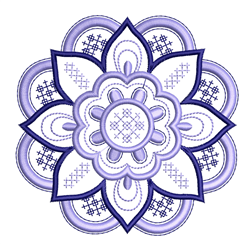Cross Stitched Flower Outline embroidery design