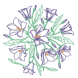 Floral Outline Circle embroidery design