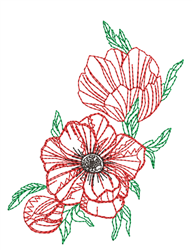 Peony Outline embroidery design