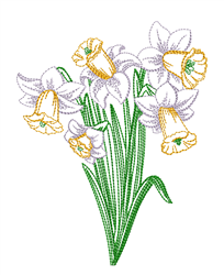 Daffodils Outline embroidery design