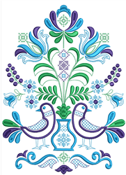 Rosemaling Dove embroidery design
