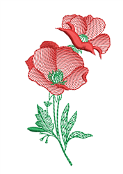 Sketched Poppy embroidery design